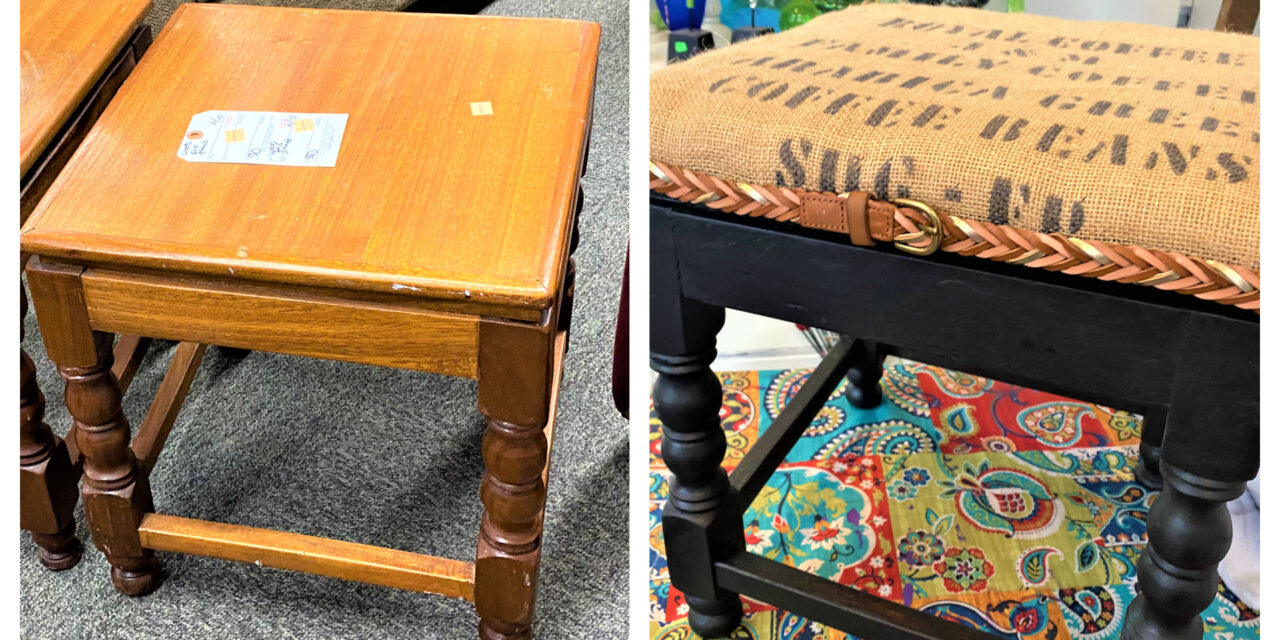 """DIY: """"Bedazzle"""" Benches With Belts & Burlap"""