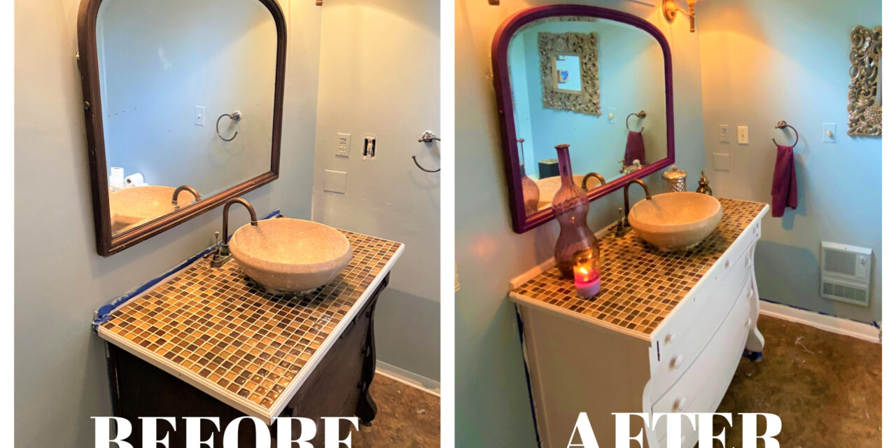 DIY Project: Give Your Bathroom a First-Class Makeover with Paint & Second-Hand Pieces
